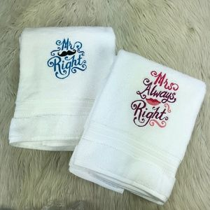 NEW SET - Mr & Mrs Right White Bath Towels
